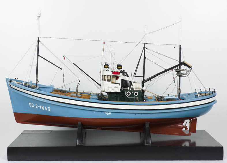 Typical Bay of Biscay coastal fishing boat from the 1960s. The vessel represented docked in San Sebastián harbour and belonged to Pedro Urtizberea.