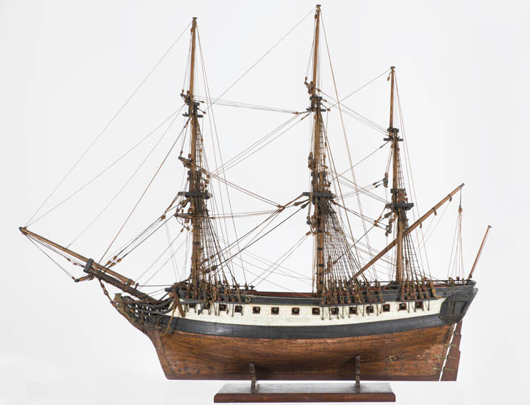 Merchant frigate armed for privateering with 28 guns belonging to the Royal Guipuzcoan Company of Caracas fleet. The model belonged to the Consulate of San Sebastián and was saved from the city fire i