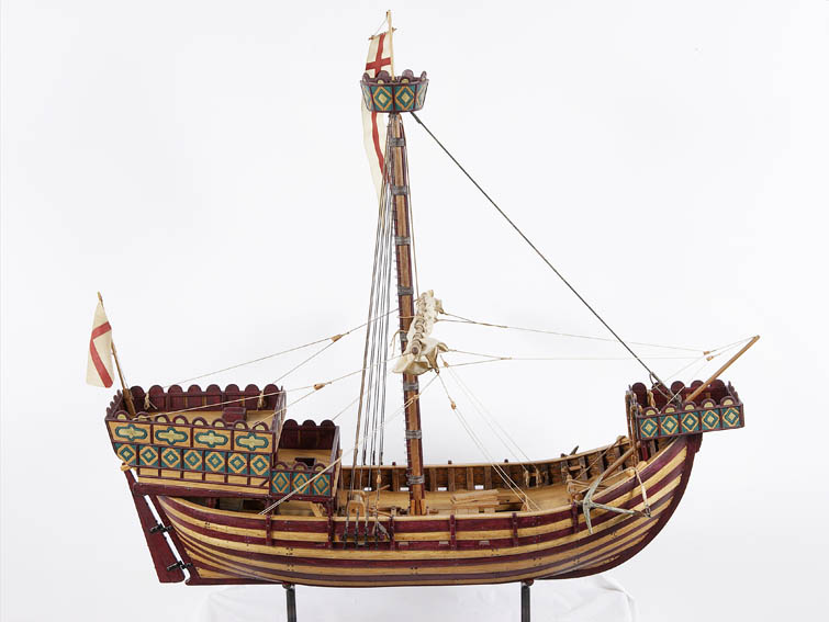Scale model of a cog from the fourteenth century. This is a type of vessel from the Middle Ages, coming from the north of Europe and being the type of boat most used by the Hanseatic League. The cog i