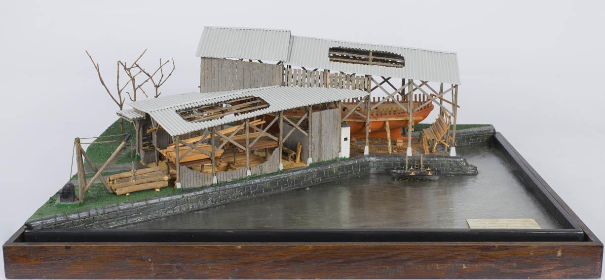 Diorama of modeller José Antonio Puerta Mendiguren that represents the activity of a shipyard located in Zestoa-Cestona during the years 1941-1975.