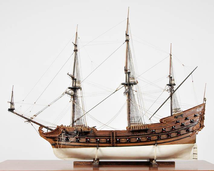 Modelo del galeón de 600 toneles y 44 cañones que fue la nao capitana de Don Antonio de Oquendo en los combates de Pernambuco y las Dunas, hacía 1618.