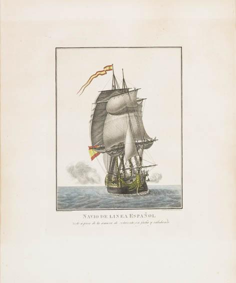 Aguafuerte coloreado que muestra una ilustración de un navío de línea español navegando y visto de proa. Pertenece a la serie realizada por Agustín Berlinguero.