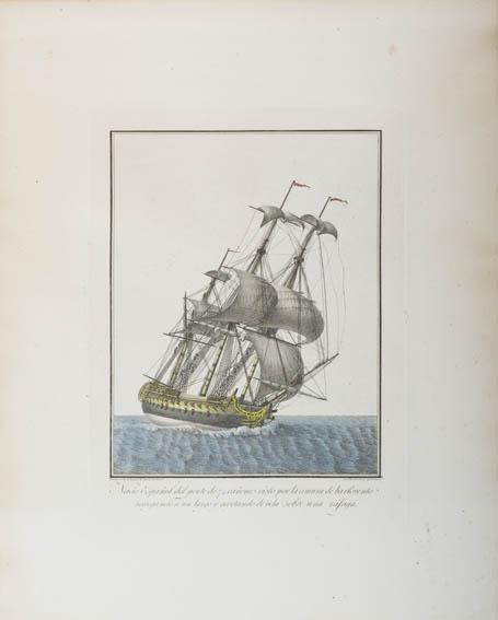 Aguafuerte coloreado que muestra una ilustración de un navío español de 74 cañones navegando y visto desde la amura de estribor.