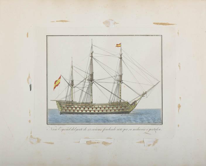 Este aguafuerte, realizado por Agustín Berlinguero, representa a un navío español de 112 cañones. El navío de línea era el principal tipo de buque de guerra empleado por las escuadras navales. Dentro