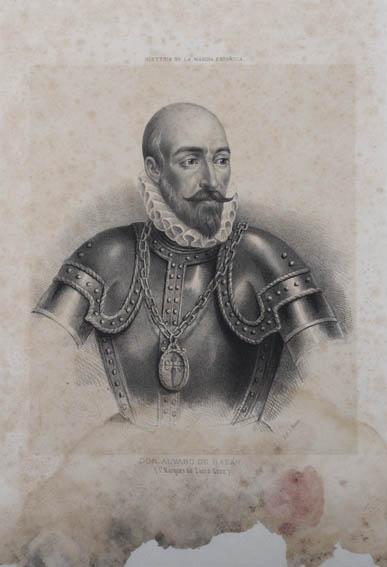 Retrato del busto de don Álvaro de Bazán con coraza, militar y almirante español del siglo XVI, célebre por el uso de galeones de guerra y por utilizar por primera vez infantería de marina para realiz