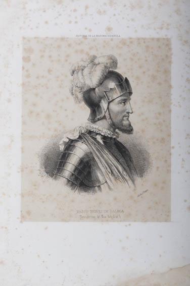 Grabado sobre papel que muestra un retrato de busto y en perfil de Vasco Nuñez de Balboa, representado con coraza y casco. Nuñez de Balboa, navegante y conquistador español, fue famoso por ser el desc