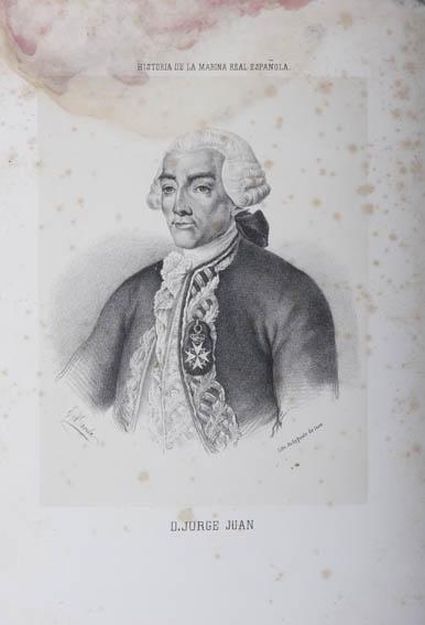 Grabado que representa el retrato del busto de Jorge Juan y Santacilla, humanista, ingeniero y científico naval español nacido en 1713. Se le conoce por haber medido la longitud del meridiano terrestr