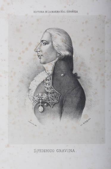 Grabado que representa el busto de Federico Gravina y Napoli, marino y militar de origen Italiano.  Fue admitido en la Real Armada Española en 1775 navegando por primera vez en el navío