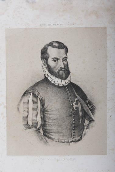 Grabado que representa el busto de Pedro Menéndez de Avilés, militar, marino y gobernador de Cuba y Florida. Nacido en Asturias en una familia hidalga pero no heredó bienes ya que su madre se volvió a