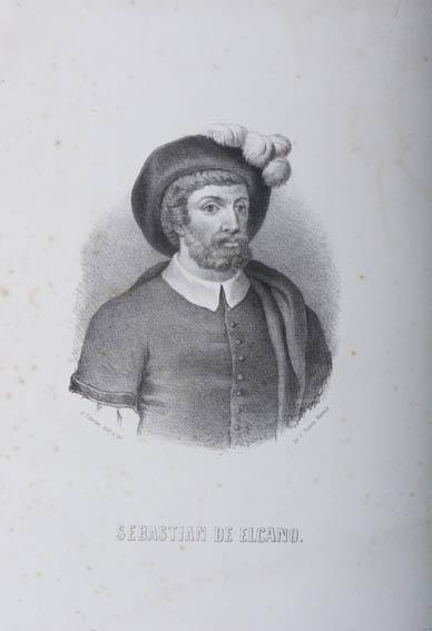 Retrato del busto de Juan Sebastián de Elcano del grabador J. Cebrian. Elcano es un conocido marino vasco que realizó en el siglo XVI la primera vuelta al mundo.