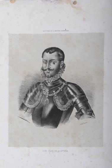 Grabado que representa el busto de Juan de Austria con coraza militar. Fue hijo de Carlos I de España y V de Austria y de Bárbara Blomberg una mujer alemana que conoció el rey en 1546. Antes de que el