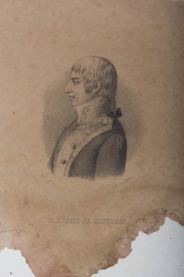 Retrato del busto de perfil de Cosme de Churruca del grabador J. Cebrian. Churruca, conocido marino y militar vasco, participó y murió en la batalla de Trafalgar.