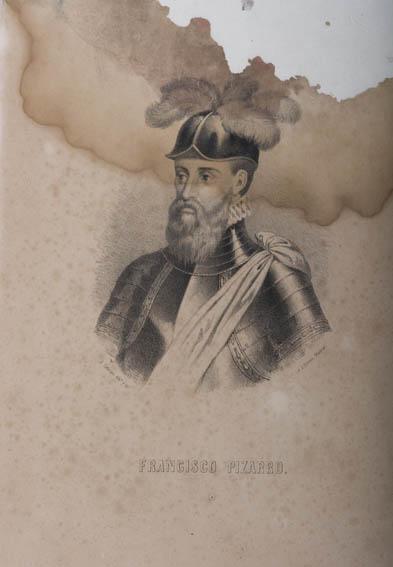 Retrato del busto de Francisco Pizarro con coraza y casco, del grabador J. Cebrian. Pizarro, noble y explorador español, fue quien protagonizó la conquista de Perú.