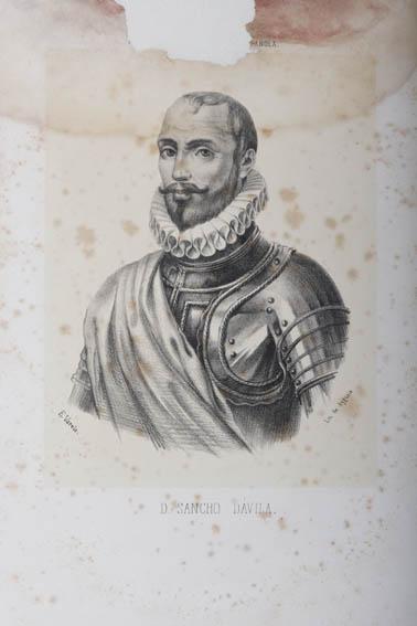 Grabado que representa el busto de Sancho Dávila y Daza ataviado con coraza. Fue un militar español apodado como Rayo de Guerra. Su padre, Antonio Blázquez Dávila, participó en el asedio de Fuenterrab