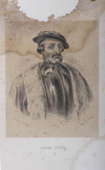 Grabado que representa el busto de Hernán Cortes ataviado con coraza y sombrero. Fue un conquistador español y es recordado por la conquista de México. Fue nombrado Capitán General de Nueva España y m