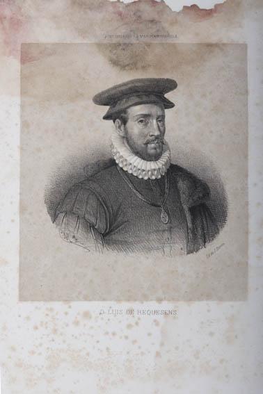 Grabado que representa el busto de Luis de Requesens. Fue un marino y militar español, además de gobernador de Milán y los Países Bajos. Es conocido por participar de la victoria de la batalla de Lepa