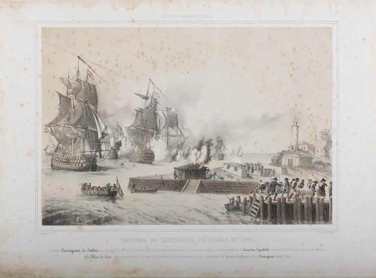 Litografía de Vicente Urrabieta y Ortiz en la cual se representa un combate naval en Cartagena de Indias. En 1741 Blas de Lezo consiguió derrotar a los ingleses y liberar a la ciudad, por lo que en la