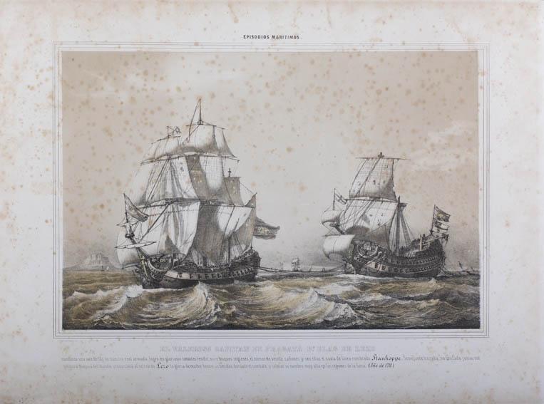 Representación de un buque español comandado por Blas de Lezo remolcando otro navío ingles capturado tras la batalla de 1710 en que rindió a 11 buques entre ellos el Stanhoppe. Grabado de José Vallejo