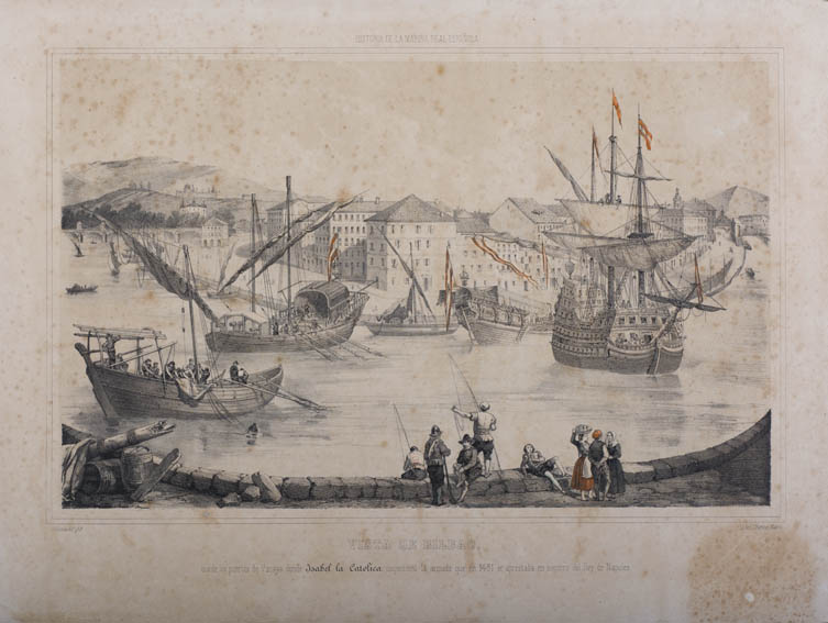 Print depicting the inspection of Isabella the Catholic on the Nervión river as it passes through Bilbao on the part of the Navy that was preparing to support the king of Naples in 1481. We can see se