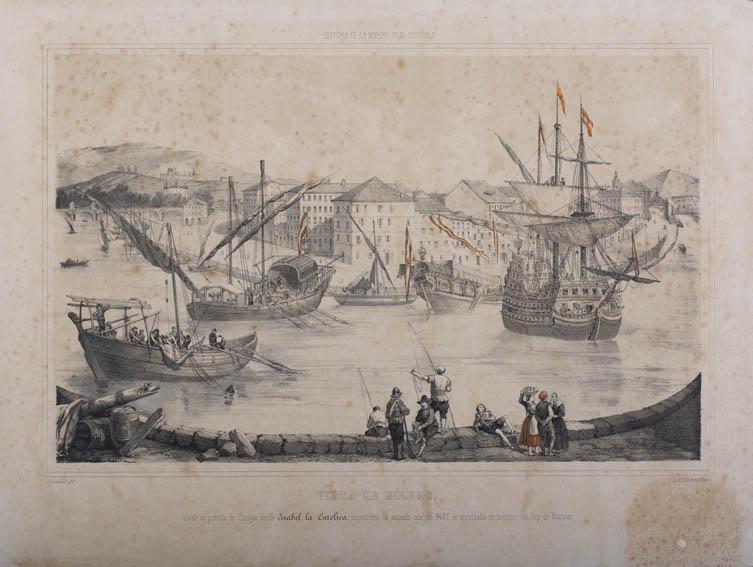 Grabado que representa la inspección de Isabel la Católica en el rio Nervión a su paso por Bilbao de parte de la armada que en 1481 se preparaba para apoyar al rey de Nápoles. Se aprecian varios navío
