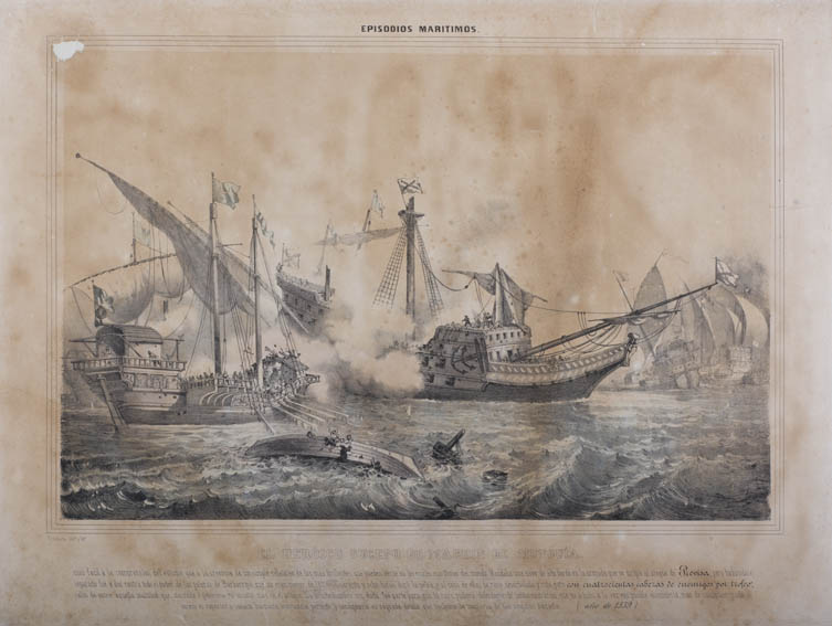 Depiction of a naval battle where a galleon from the Spanish navy, moving into attack at La Previsa in 1539, get separated from the fleet, found alone by a Turkish fleet. Heading all of this was Admir