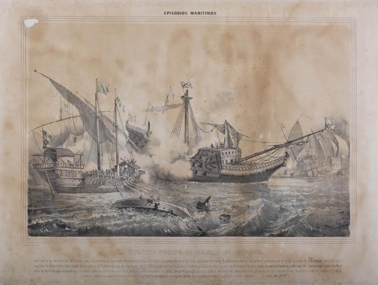 Representación de un combate naval en la que un galeón de la armada española que se dirigía al ataque de La Previsa en 1539 se separó de la flota y se encontró solo ante una flota turca. Este suceso l