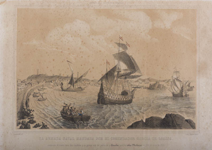 Print representing the departure of Commander Garcia de Loaysa towards the Maluku Islands, present day Philippines, from the port of La Coruña on July 24, 1525. This expedition, the first with the aim