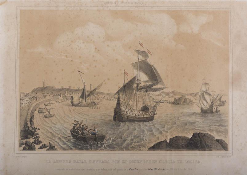 Grabado que representa la salida del Comendador Garcia de Loaisa hacia las Molucas, actuales Filipinas, desde el puerto de La Coruña el 24 de julio de 1525. Esta expedición, la primera destinada a tom