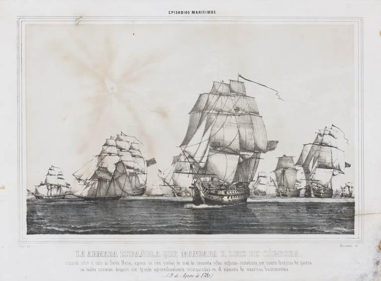 Representación de la captura de un convoy ingles por la escuadra de Luis de Córdoba en el cabo de Santa María el 9 de agosto de 1780. En la obra se observan varios navíos españoles e ingleses capturad