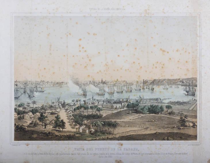 Representación del puerto de la habana siendo sitiado por una flota inglesa en 1762. En la obra se observan varios navíos en la bahía de la Habana, con el castillo del Morro al fondo junto a parte de