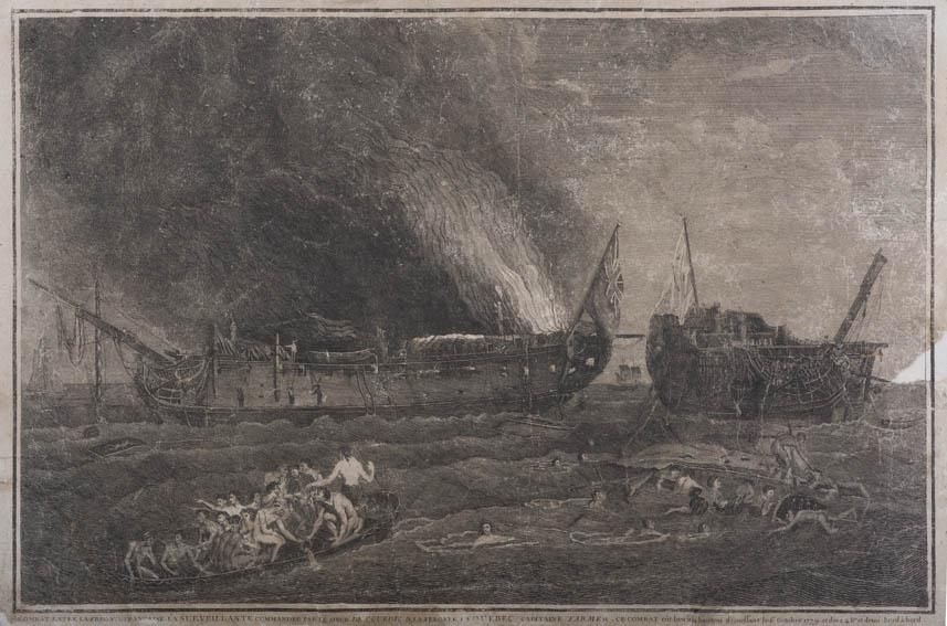 Representación del combate entre la fragata francesa