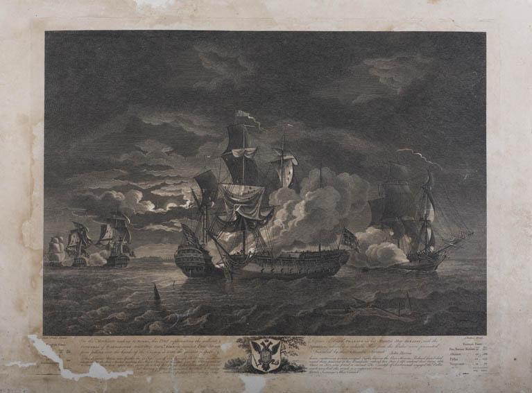 Grabado de Robert Dodd, marino británico y pintor famoso por su trabajo en el que muestra las guerras de coalición que se dieron antes de la Revolución francesa. En este caso tenemos una representació