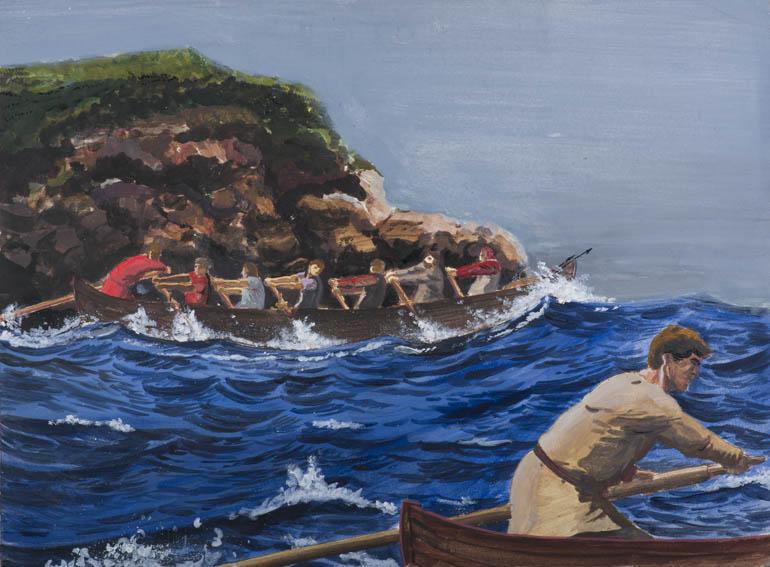 Acrílico del siglo XX que muestra una escena de caza de ballena en la que se aprecia en primer plano a un patrón de chalupa ballenera dirigiéndola. En segundo plano se ve a una chalupa ballenera naveg