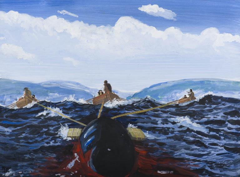 Escena de caza de ballena en la que se aprecian a tres chalupas remolcando, mediante sogas, el cuerpo de una ballena recién capturada hacia tierra. Obra de 1988, del pintor Juan Luis Mendizabal, más c