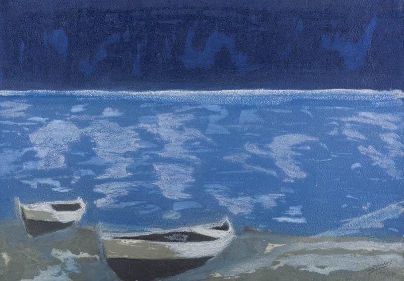 Grabado de José Beulas, donde nos topamos con un paisaje de una playa con dos barcas varadas en ella, recreando un ambiente nocturno.