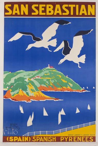 Cartel publicitario de los años 30 firmado por Rafael Elosegui, que muestra la bahía donostiarra desde el monte Urgull. En primer plano aparecen dos gaviotas en colores blanco y negro, unos veleros en
