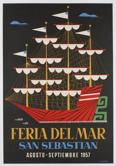 Cartel publicitario de 1557 firmado por José Luis Usabiaga que muestra un barco de 4 palos con las velas recogidas.