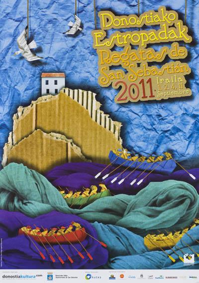 Cartel que anuncia las míticas regatas de la Concha del año 2011 firmado por Juan Diego Ingelmo Benavente, en el que se aprecia un paisaje, tipo marina, realizado con papel, cartón, redes que represen