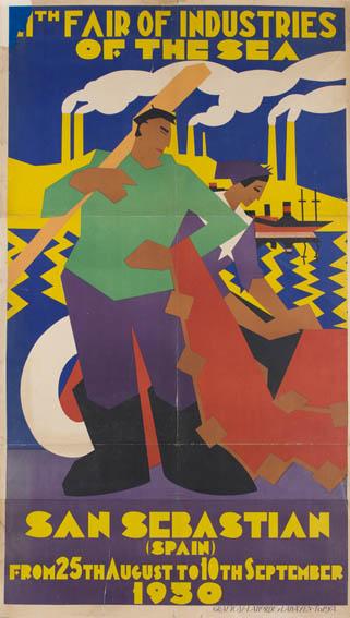 Cartel publicitario de los años 30 en edición inglesa de la segunda feria de industrias del mar realizadas en San Sebastián. En primer plano aparece un pescador y una redera y en el fondo podemos apre