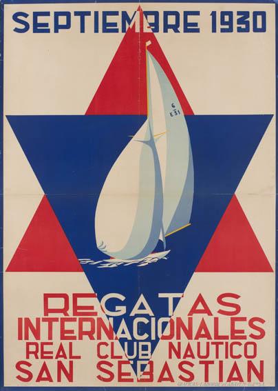 Cartel publicitario firmado por Rafael Elosegui, que anuncia las regatas de vela de San Sebastián de septiembre del año 1930, organizadas por el Real Club Náutico de San Sebastián. En el centro aparec