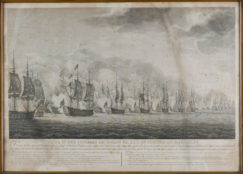 Grabado al cobre de Diego de Mesa que muestra una vista del combate naval de Tolón que se desarrolló el 22 de  febrero de 1744. La batalla naval de Tolón tuvo lugar entre el 22 y el 23 de febrero de 1