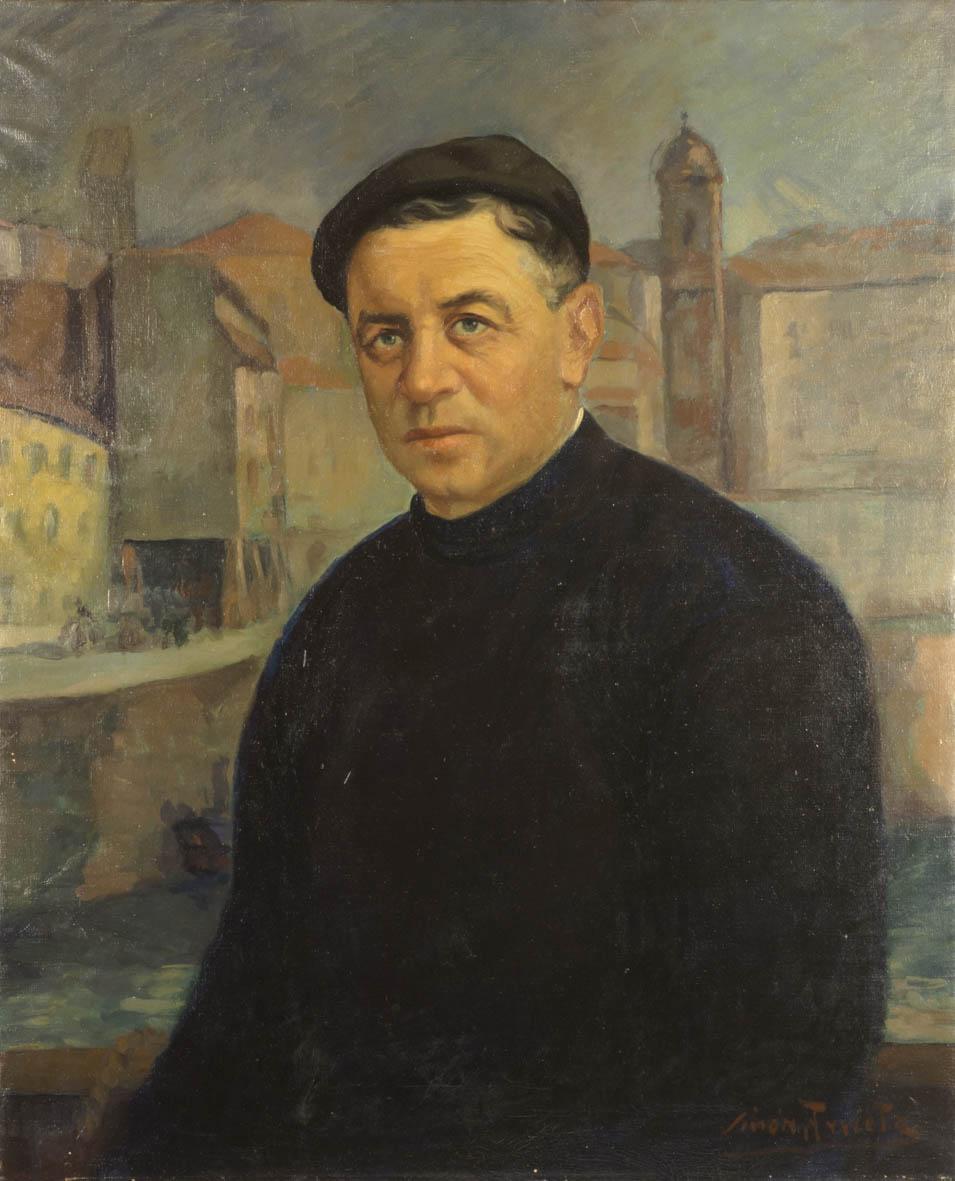 Retrato del siglo XX al oleo de Francisco Zubiaurre, más conocido como Kiriko o Quirico, ambientado en el puerto donostiarra. En el fondo se observa la Parte Vieja y destaca la Basílica de Santa María