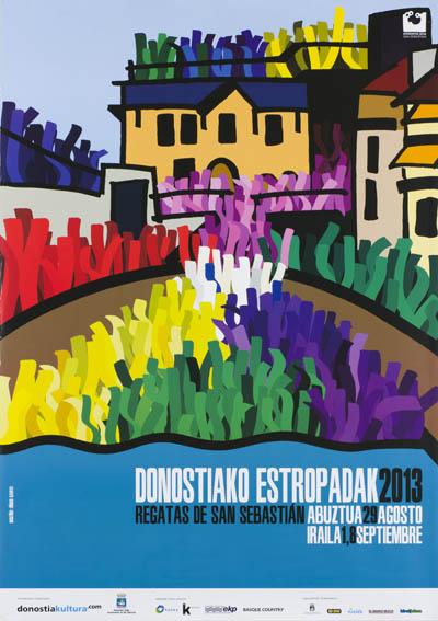 Cartel que anuncia las míticas regatas de la Concha del año 2013, firmado por el arquitecto y diseñador Iñigo Garvi. La idea fue reflejar el bonito momento que se vive cada año al final de cada regata
