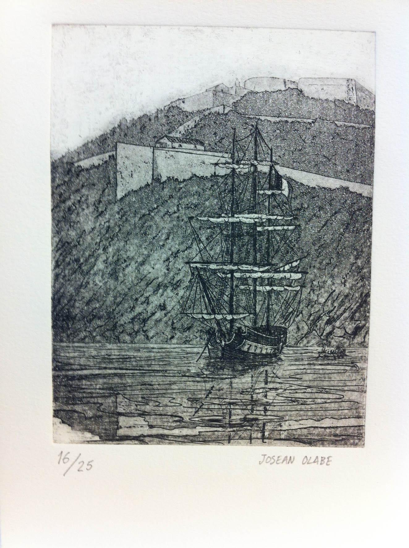 Grabado que representa a una fragata francesa fondeada en la bahía de la Concha, a los pies del monte Urgull, en algún momento durante la Guerra de Independencia española.
