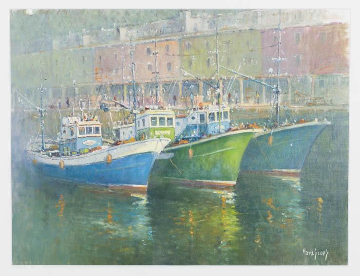 Obra pintada en 2013 por el artista Juan María Navascues, el cual se basó en apuntes del año 1975 y que representa el muelle de Donostia con varios de sus barcos pesqueros en primer plano y las casas