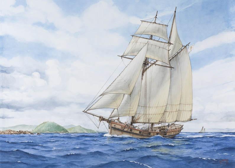 Acuarela que representa a una goleta o patache vasca de dos palos y armada en corso navegando frente a la costa de San Sebastián en algún momento de la segunda mitad del siglo XVIII.