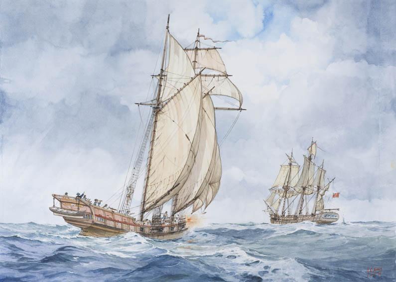 Acuarela que representa a una goleta o patache vasca de dos palos, vista desde la aleta de estribor, y armada en corso dando caza a un navío en algún momento de la segunda mitad del siglo XVIII.