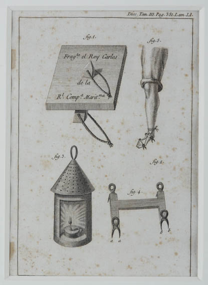 1791 engraving byichthyologist and writer, Antonio Sañez Reguart,  depicting a crampon, a lantern and a buoy that were used at different stages of the whaling process. Reguart was Navy War Commissione