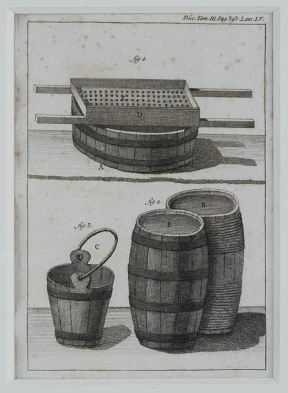 1791 engraving byichthyologist and writer, Antonio Sañez Reguart, depictingseveral tools used for the handling of the animal fat or whale oil:bucket, barrels and sieve. Reguart was Navy War Commission