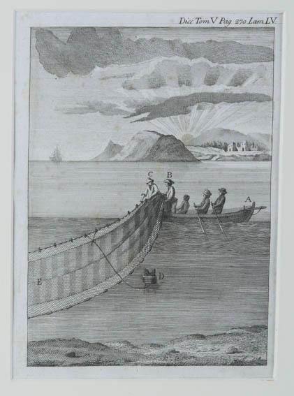 Grabado de 1791 del ictiólogo y escritor Antonio Sañez Reguart, donde se aprecia el acto de recoger del mar una red para la técnica del enmalle. Reguart fue Comisario de Guerra Marina y perteneció a l